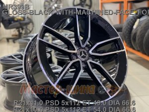 22_5x112_45_9.5J_h 66.6_ REPLICA MERCEDES MR399B_ GLOSS-BLACK-WITH-MACHINED-FACE_FORGED